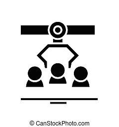 meccanizzazione, illustrazione, glyph, concetto, icona, vettore, segno., appartamento, nero, simbolo