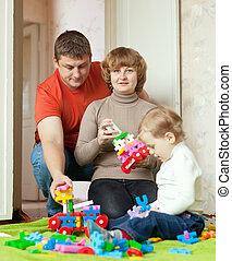 meccano, jeux, ensemble, enfant, parents