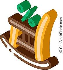 mecedor, icono, silla, ilustración, isométrico, vector
