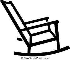 mecedor, silueta, silla