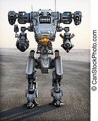 mech, robô, futurista, weapon.