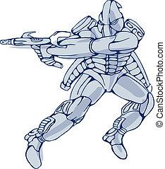 mecha, robot, guerrero, con, arma del rayo