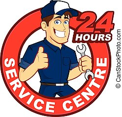 Clipart picture of a mechanic cartoon character with 24 hours service centre