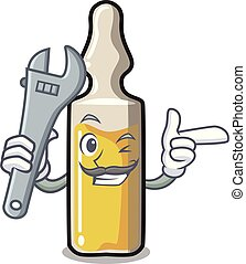 Mechanic ampoule mascot cartoon style vector illustration