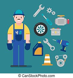 Mechanic and Car service concept with flat icons. Vector illustration