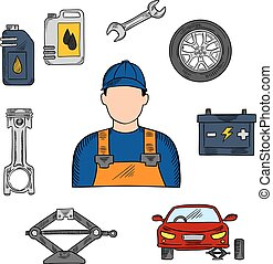 Mechanic and car service icons