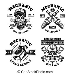 Mechanic and repair service four vector emblems