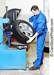 mechanic at auto wheel tyre changer