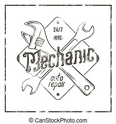 Mechanic auto repair label. Vintage tee design graphics, complete auto repair typography print. Custom t-shirt stamp, teeshirt graphic. Use as emblem, logo on web. Vector monochrome artwork.
