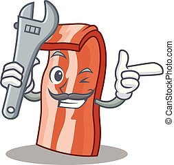 Mechanic bacon mascot cartoon style vector illustration