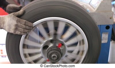 Mechanic balances ca%u043A wheel - Mechanic in the service...