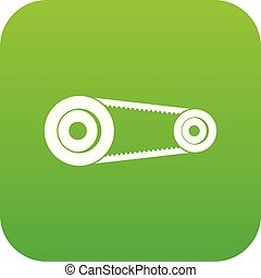 Mechanic belt icon digital green for any design isolated on...