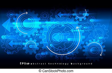 Mechanic blue vector background with gears. Digital engineering cogwheels concept.
