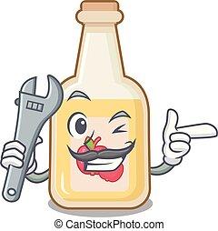 Mechanic bottle apple cider above cartoon table
