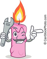 Mechanic candle character cartoon style vector illustration