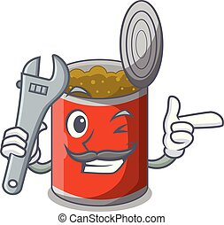 Mechanic canned food on the tablecloth cartoon