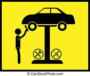 mechanic car repair icon with wrench