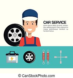 mechanic car service icons
