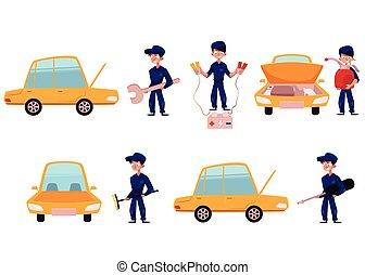 Mechanic, car service, repair maintenance workshop