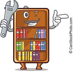 Mechanic cartoon bookcase in the study room