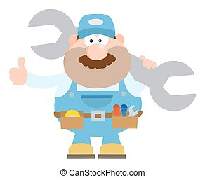 Mechanic Cartoon Character Holding Huge Wrench And Giving A...
