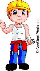 mechanic cartoon thumb up