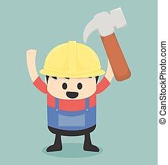 Hard hat handyman carpenter mechanic or plumber. Cartoon handyman ... 87432918891f