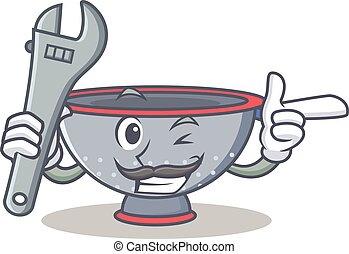 Mechanic colander utensil character cartoon vector...
