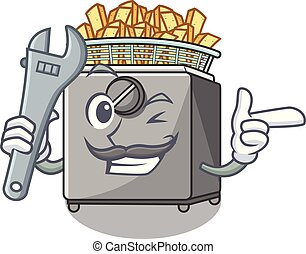 Mechanic deep fryer machine isolated on mascot vector...