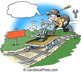 Mechanic driving handcar on rails