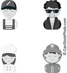 Mechanic, entertainer, cook, fireman.Profession set collection icons in monochrome style vector symbol stock illustration web.