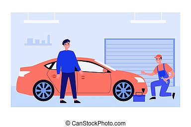 Mechanic examining and repairing red car