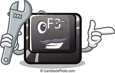 Mechanic f3 button installed on cartoon computer