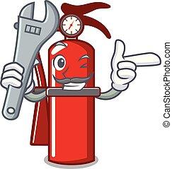 Mechanic fire extinguisher mascot cartoon