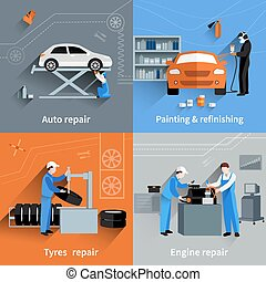 Mechanic Flat Set - Mechanic design concept set with auto...