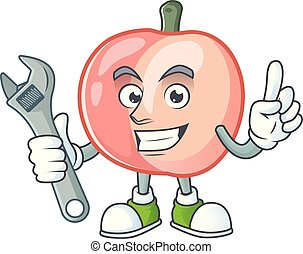 Mechanic fruit peach fresh character with mascot