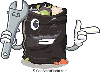Mechanic garbage bag behind the character door