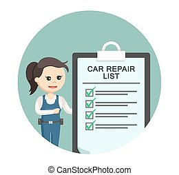 mechanic girl with car repair list in circle background