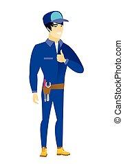 Mechanic giving thumb up vector illustration.