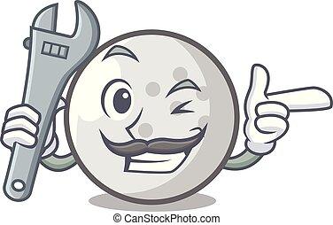 Mechanic golf ball mascot cartoon