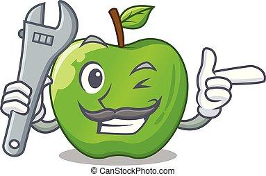 Mechanic green smith apple isolated on cartoon