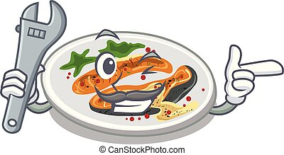 Mechanic grilled salmon on a cartoon plate