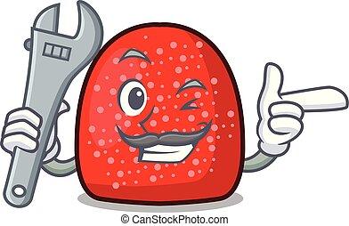 Mechanic gumdrop mascot cartoon style vector illustration