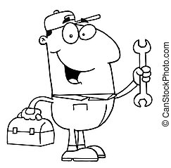 Mechanic Guy - Outlined Auto Mechanic