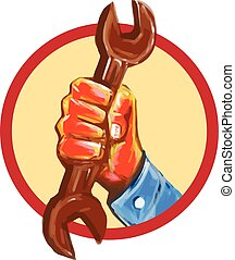 Mechanic Hand Holding Spanner Circle Watercolor
