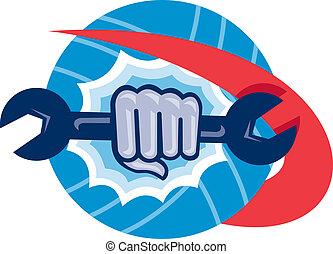 Mechanic Hand Holding Spanner Punching