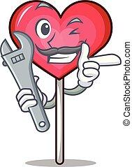 Mechanic heart lollipop mascot cartoon