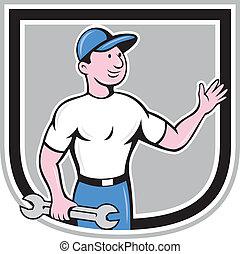 Mechanic Hold Spanner Waving Hand Cartoon