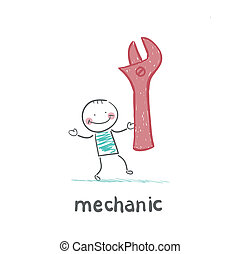 mechanic holding a red key