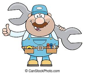 Mechanic Holding Huge Wrench